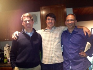 Justin with proud mentors: Sean Richards (MS advisor) and DB